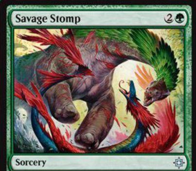 イクサランの緑ソーサリー「Savage Stomp」が公開!緑2でクリーチャー1体を+1/+1しつつ格闘!強化対象が恐竜なら不特定コストは2点軽減!