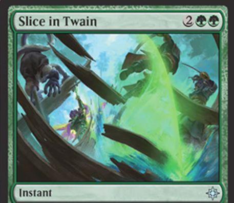 ミラディンの傷跡「真っ二つ」がイクサランで再録!緑緑2でアーティファクトかエンチャントを破壊しつつカードを引くインスタント!