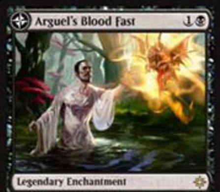 黒い伝説のエンチャント「Arguel's Blood Fast」が公開!黒1で設置し、黒1&2点ライフを支払って1ドロー!自アップキープ開始時にライフが5点以下なら「Temple of Aclazotz」に変身!