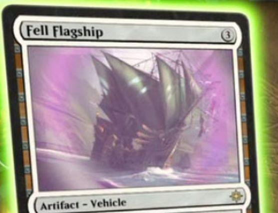 イクサラン収録のレア機体「Fell Flagship」が公開!3マナ「搭乗3」で3/3&自軍の海賊のパワーを1増強&プレイヤーに戦闘ダメージを与えてハンデス!