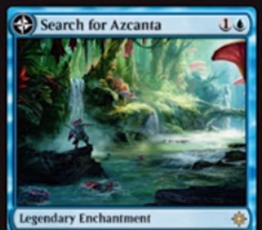青い伝説のエンチャント「Search for Azcanta」が公開!青1で設置し、毎アップキープにライブラリートップを見て任意で墓地に置ける!また、そのタイミングで墓地に7枚以上のカードがあれば伝説の土地「Azcanta, the Sunken Ruin」に変身!