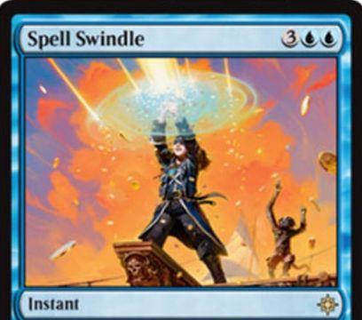 青レアのカウンター「Spell Swindle」が公開!青青3で呪文を打ち消しつつ、その呪文のマナコスト点数だけ宝物トークンを生成する!