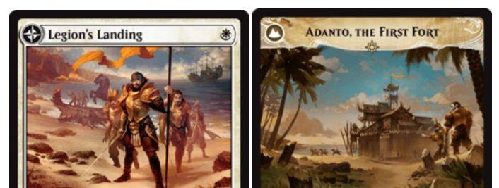 白い伝説のエンチャント「Legion's Landing」が公開!白マナ1点で設置して1/1「絆魂」の白吸血鬼トークンを生成!3体以上のクリーチャーでの攻撃時に伝説の土地「Adanto, the First Fort」へ変身!