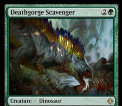 緑レアの恐竜「Deathgorge Scavenger」が公開!3マナ3/2&CIPや攻撃時に墓地のカードを追放しライフゲインやP/T強化の効果を誘発!