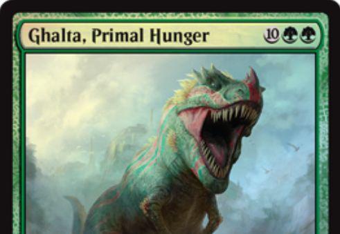 緑レアのエルダー恐竜「Ghalta, Primal Hunger(イクサランの相克)」が公開!緑緑10で12/12「トランプル」!さらに自軍クリーチャーのパワー合計だけ不特定マナが軽減される!