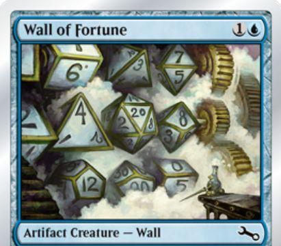 Unstable収録の青コモン壁「Wall of Fortune」が公開!2マナ0/4「防衛」&アンタップ状態の壁をタップすることでダイスの振り直しが可能に!