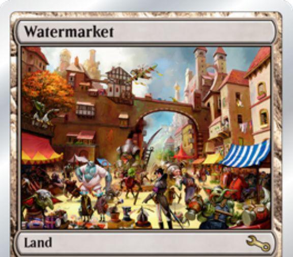 Unstableのレア土地「Watermarket」が公開!タップでwatermark(透かし)のあるカードを唱えるために使用できる無色マナ2点を生産する!