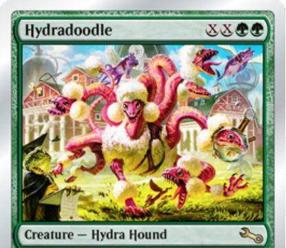 緑レアのハイドラ猟犬「Hydradoodle(Unstable)」が公開!緑緑XXで唱え、CIPでX個の6面ダイスを投げて目の合計値の+1/+1カウンターを持った「到達」&「トランプル」持ちクリーチャーとなる!