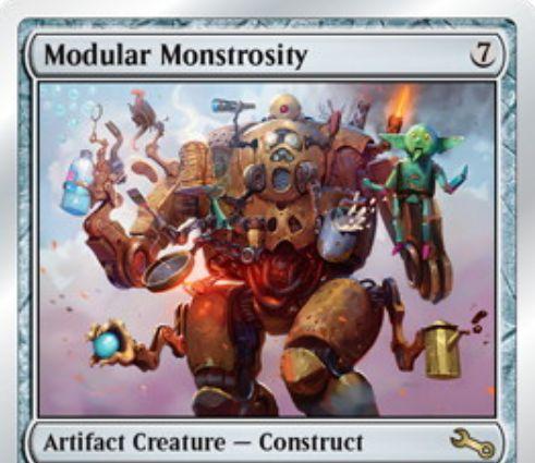Unstable収録の構築物「怪物化した接合者/Modular Monstrosity」が公開!7マナ3/3&対戦相手が呪文を唱えるたび、5秒以内にキーワード能力を宣言できればそれを得る!