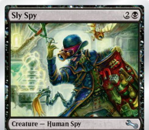 黒コモンのスパイ人間「ずるいスパイ/Sly Spy(Unstable)」が公開!3マナ2/2&プレイヤーにダメージを通すと、手札を見て最長のカード名のカードを捨てさせる!