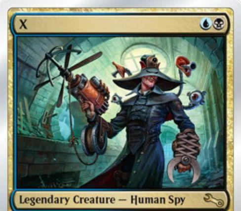 Unstable収録の青黒伝説スパイ人間「X(コードネーム:ミスターX)」が公開!相手の手札に潜り込み、相手の手札のカードをプレイする!