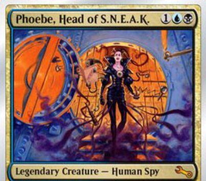 青黒の伝説神話スパイ人間「Phoebe, Head of S.N.E.A.K(Unstable)」が公開!フレイバーテキストを持ったクリーチャーによってブロックされず、対象のクリーチャーのテキスト枠を盗む能力を持つ!