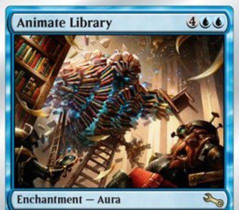 青レアのオーラ「Animate Library(Unstable)」が公開!ライブラリーにエンチャントし、残カード枚数に等しいP/Tを持つクリーチャーに変える!