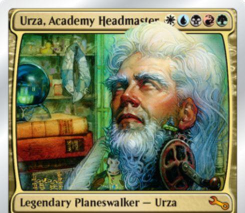 Unstable収録の伝説神話PW「Urza, Academy Headmaster」が公開!専用のWebページにアクセスして効果が決まる「ウルザ」のタイプを持つ5色プレインズウォーカー!