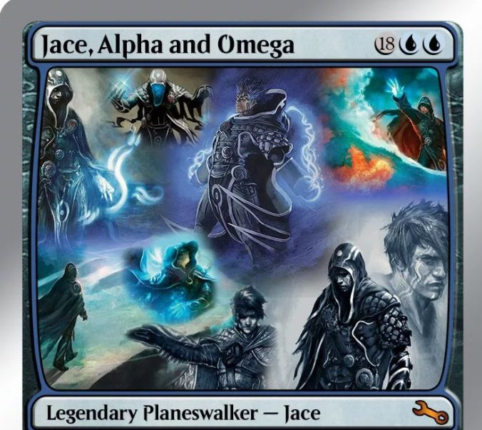 Unstableのフェイクカード「Jace, the Alpha and Omega」が凄い!20マナで初期忠誠値32を持ち、過去に登場したすべてのジェイスの能力を併せ持つプレインズウォーカー!