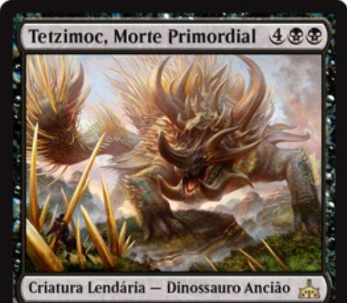 【イクサランの相克】黒レアの伝説エルダー恐竜「Tetzimoc, Primal Death」がスポイラー掲載!黒1マナを支払ってこのカードを手札から公開することでprey(捕食)カウンターをクリーチャーに置き、CIPでpreyカウンターが置かれたクリーチャーを全破壊!