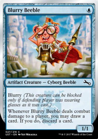 Unstable「Blurry Beeble」の日本語版カード「ぼやけたビーブル」が公開!メガネをしたプレイヤーにしかブロックされない能力「Blurry」の日本語訳は「ぼやけ」!