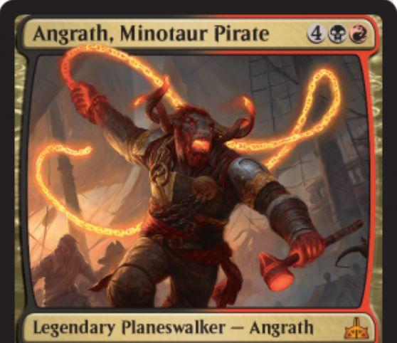 【イクサランの相克】黒赤のPWアングラス「Angrath, Minotaur Pirate」が非公式スポイラーに掲載!最終奥義では対戦相手の全クリーチャーを破壊しつつ破壊したクリーチャーの合計パワーのダメージを対戦相手に与える!
