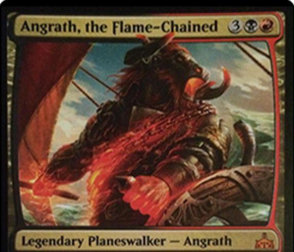 【イクサランの相克】黒赤神話のPWアングラス「Angrath, the Flame-Chained」が公開!【+1】でハンデスしつつ2点ライフロス!【-3】でクリーチャー1体のコントロールを奪って速攻付与&3マナ以下なら終了ステップに生贄!【-8】で対戦相手の墓地の枚数だけライフロス!