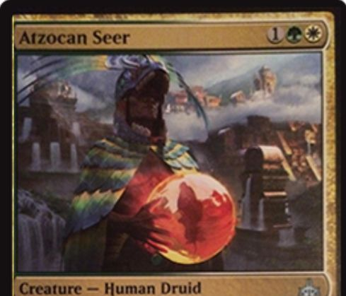 【イクサランの相克】白緑の人間ドルイド「Atzocan Seer」が公開!3マナ2/3&タップで好きな色マナを生産&自身を生贄に捧げて墓地の恐竜を手札に回収!