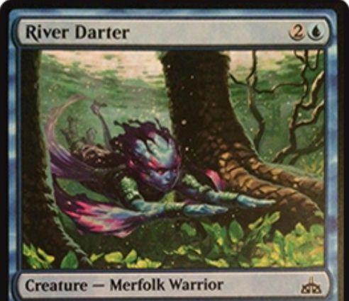 【イクサランの相克】青コモンのマーフォーク戦士「River Darter」が公開!3マナ2/3&恐竜からはブロックされない!