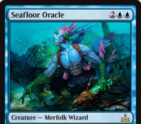 【イクサランの相克】青レアのマーフォーク・ウィザード「Seafloor Oracle」が公開!4マナ2/3&自軍の全マーフォークに、プレイヤーにダメージを通した際のドロー能力を付与!