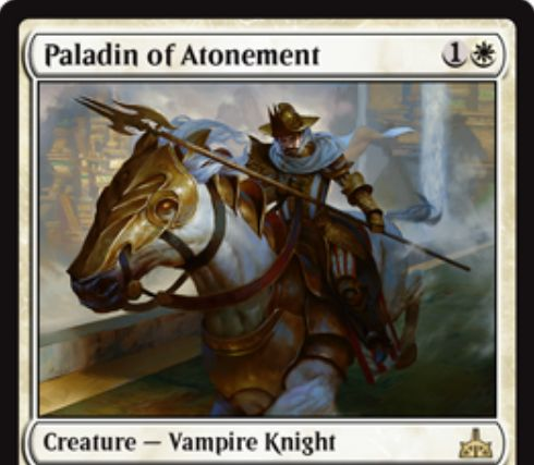 【イクサランの相克】白レアの吸血鬼騎士「Paladin of Atonement」が公開!2マナ1/1&あなたがライフを失った次ターンのアップキープに+1/+1カウンターを獲得&死亡時にタフネス分だけライフゲイン!