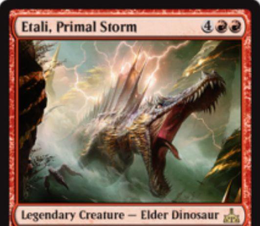 赤レアのエルダー恐竜「Etali, Primal Storm(イクサランの相克)」が公開!赤赤4で6/6&攻撃時に各プレイヤーのライブラリートップを追放し、非土地のカードをマナコスト不要で唱えられる!