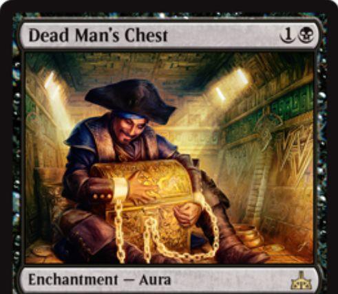 Dead Man's Chest(イクサランの相克)が公開!対戦相手のクリーチャーにエンチャントし、そのクリーチャーの死亡時にライブラリートップからそのクリーチャーのパワー分のカードを追放!追放したカードは色マナ無視で唱えられる!