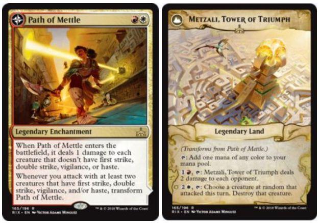白赤レアの伝説エンチャント「Path to Mettle」が公開!白赤で設置してCIPで先制攻撃・二段攻撃・警戒・速攻を持たない全クリーチャーに1点ダメージ!あなたが2体以上の先制攻撃・二段攻撃・警戒・速攻持ちで攻撃したら「Metzali, Tower of Triumph」に変身!変身後は好きな色マナを生め、2つの起動型能力を持った伝説の土地に!
