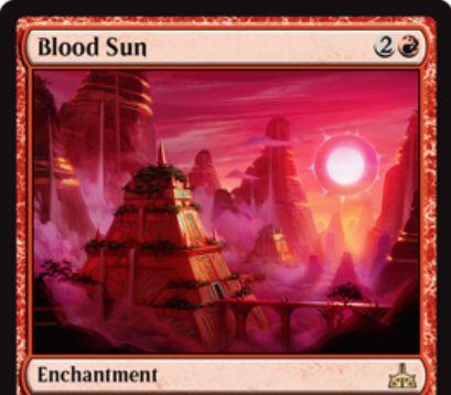 Blood Sun(イクサランの相克)が公開!赤2で設置するエンチャントでCIPで1ドロー&すべての土地はマナ能力以外の能力を失う!