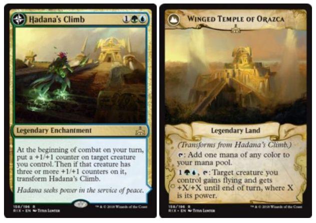 緑青の伝説エンチャント「Hadana's Climb」が公開!緑青1で設置し、あなたの戦闘開始時に+1/+1カウンターを自軍クリーチャー1体に付与!そのクリーチャーに3個以上の+1/+1カウンターが乗れば「Winged Temple of Orazca」に変身し、緑青1&タップでクリーチャー1体に飛行と+X/+Xの修正を付与可能に(Xは対象クリーチャーのパワー)!
