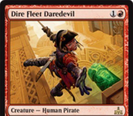 Dire Fleet Daredevil(イクサランの相克)が公開!赤1で2/1先制攻撃&戦場に出た際に対戦相手の墓地のカード1枚を追放し、そのターンにマナ色不問で詠唱可能に!