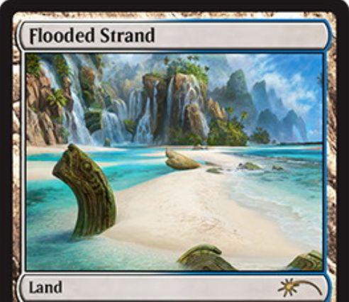 MTG国別選手権2018参加賞プロモ「溢れかえる岸辺(Flooded Strand)」が公開!人気の白青フェッチランドがパラレルイラストになって登場!