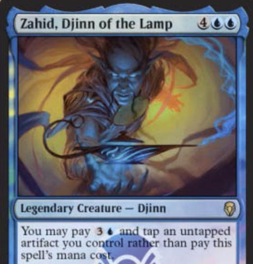 【ドミナリア】青レアのジン「Zahid, Djinn of the Lamp」が公開!6マナ5/6「飛行」&青3とアーティファクト1枚をタップすることを代替コストとして唱えることも可能な伝説のクリーチャー!