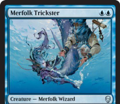 【ドミナリア】マーフォークのペテン師(Merfolk Trickster)が公開!青青で2/2「瞬速」&CIPで相手のクリーチャーをタップしつつ能力を失わせるマーフォーク・ウィザード!(高画質版)