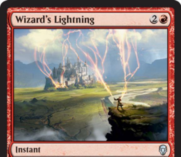 【ドミナリア】魔術師の稲妻(Wizard's Lightning)がカード画像公開!赤2で好きな対象に3点ダメージを与えるインスタント!自軍にウィザードがいれば赤マナ1点で唱えることが可能に!