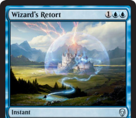 【ドミナリア】魔術師の反駁(Wizard's Retort)のカード画像が公開!自軍にウィザードがいれば「対抗呪文」になる「取り消し」!