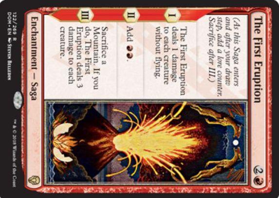 【ドミナリア】赤レアの英雄譚「最初の噴火(The First Eruption)」のカード画像が公開!