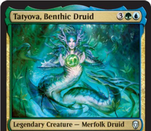 【ドミナリア】緑青の伝説マーフォーク・ドルイド「Tatyova, Benthic Druid」が公開!緑青3で3/3&あなたの土地が戦場に出るたび1ライフゲイン&1ドロー!