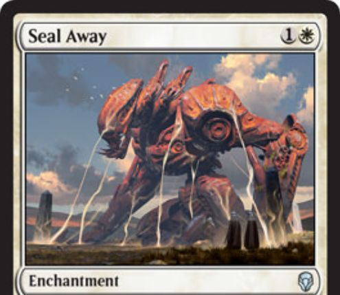 【ドミナリア】封じ込め(Seal Away)が公開!白1の「瞬速」持ちエンチャントで、CIPで相手のタップ状態生物をこのカードが戦場を離れるまで追放する!