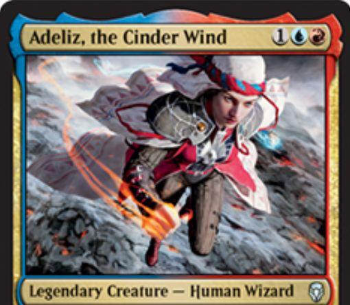 【ドミナリア】燃えがらの風、エイデリズ(Adeliz, the Cinder Wind)が公開!青赤1で2/2「飛行」「速攻」&インスタントかソーサリーを唱えるたびに+1/+1の修正を得る伝説の人間ウィザード!
