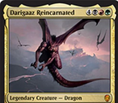 【ドミナリア】転生するデアリガズ(Darigaaz Reincarnated)が公開!黒赤緑4で7/7「飛行」「トランプル」「速攻」&死亡時に卵カウンターが3個置かれた状態で追放!毎時アップキープに卵カウンターは取り除かれ、0個になったら戦場に舞い戻る伝説神話ドラゴン!