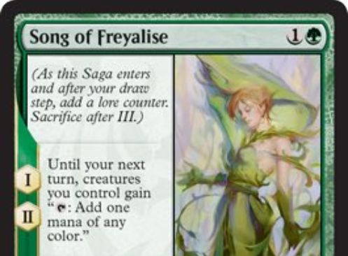 【ドミナリア】フレイアリーズの歌(Song of Freyalise)が公開!緑1で設置する「英雄譚」エンチャントで、効果1&効果2で自軍生物にタップで好きな色マナを生産する能力を付与し、効果3で自軍の全生物に+1/+1カウンターを1個ずつ置きつつターン終了時まで警戒&トランプル&破壊不能を付与する!