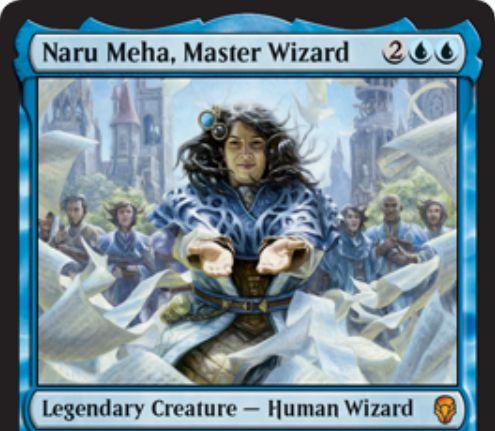 【ドミナリア】練達の魔術師、ナル・メハ(Naru Meha, Master Wizard)が公開!青青2で3/3「瞬速」&CIPでインスタントかソーサリーをコピー&自軍の他ウィザードを+1/+1する青の伝説神話ウィザード!