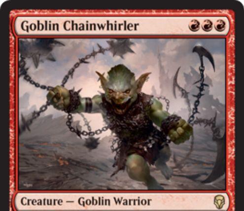 【ドミナリア】ゴブリンの鎖回し(Goblin Chainwhirler)が公開!赤赤赤で3/3「先制攻撃」&CIPで相手プレイヤーと相手の生物と相手のPWに1点ダメージを飛ばす赤レアのゴブリン戦士!