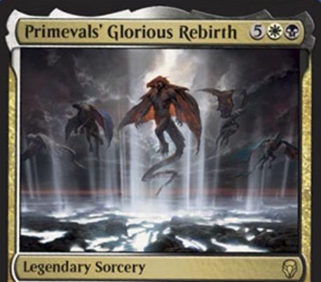【ドミナリア】上古族の栄華な再誕(Primevals' Glorious Rebirth)が公開!白黒5で自墓地の伝説パーマネントをすべて戦場に戻す伝説のソーサリー!