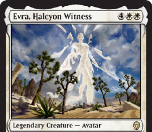 【ドミナリア】ハルシオンの目撃者、エヴラ(Evra, Halcyon Witness)が公開!白白4で4/4「絆魂」&不特定4マナであなたのライフとこのカードのパワーを交換できる伝説のアバター!