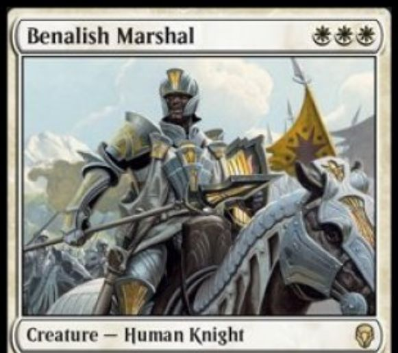 【ドミナリア】ベナリアの軍司令(Benalish Marshal)が公開!白白白で3/3&自軍の他のクリーチャーに+1/+1の修正を付与する人間・騎士クリーチャー!