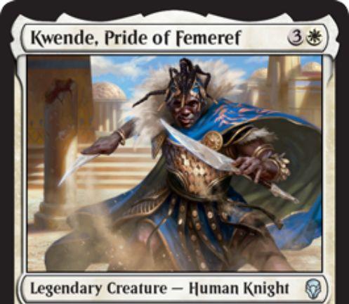 【ドミナリア】フェメレフの誇り、クェンデ(Kwende, Pride of Femeref)が公開!白3で2/2「二段攻撃」&先制攻撃持ちクリーチャーに「二段攻撃」を付与する伝説の人間騎士!